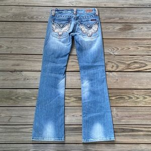 Miss Me Bootcut Distressed Lacy Flower Bootcut